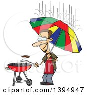 Cartoon Dedicated White Man Holding An Umbrella Nd Flipping A Burger On A Bbq Grill In The Rain