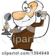 Cartoon Male Inventor Alexander Graham Bell Holding A Candlestick Telephone