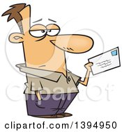 Clipart Of A Cartoon Unhappy Caucasian Man Mailing A Letter Or Tax Payment Royalty Free Vector Illustration