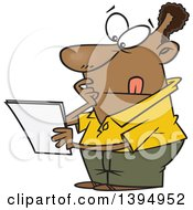 Cartoon Black Guy Pondering And Reading A Letter