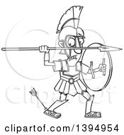 Clipart Of A Cartoon Black And White Greek God Achilles With An Arrow In His Heel Royalty Free Vector Illustration by toonaday
