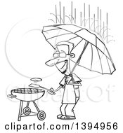 Cartoon Black And White Dedicated Man Holding An Umbrella Nd Flipping A Burger On A Bbq Grill In The Rain