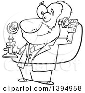Cartoon Black And White Male Inventor Alexander Graham Bell Holding A Candlestick Telephone