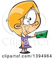 Clipart Of A Cartoon Caucasian Girl Holding Out Cash Money To Buy Something Royalty Free Vector Illustration by Ron Leishman