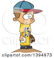 Clipart Of A Cartoon White Boy Wearing A Big Jersey And Standing On Baseball Pitchers Mound Royalty Free Vector Illustration by toonaday