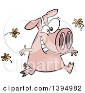 Clipart Of A Cartoon Happy Pink Pig Running And Tossing Spring Flowers Royalty Free Vector Illustration by toonaday