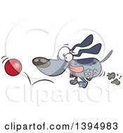 Clipart Of A Cartoon Energetic Dog Chasing And Fetching A Ball Royalty Free Vector Illustration by Ron Leishman
