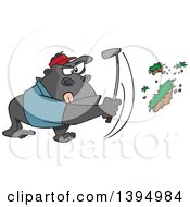 Clipart Of A Cartoon Gorilla Golfer Swinging And Pulling Up Grass Royalty Free Vector Illustration by toonaday