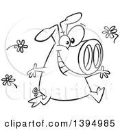 Clipart Of A Cartoon Black And White Happy Pig Running And Tossing Spring Flowers Royalty Free Vector Illustration