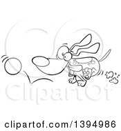 Clipart Of A Cartoon Black And White Energetic Dog Chasing And Fetching A Ball Royalty Free Vector Illustration