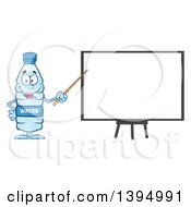 Clipart Of A Cartoon Bottled Water Mascot Using A Pointer Stick During A Presentation Royalty Free Vector Illustration