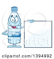Clipart Of A Cartoon Bottled Water Mascot Holding Pointing To A Blank Sign Royalty Free Vector Illustration