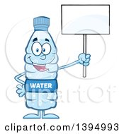 Clipart Of A Cartoon Bottled Water Mascot Holding Up A Blank Sign Royalty Free Vector Illustration