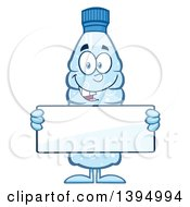 Clipart Of A Cartoon Bottled Water Mascot Holding A Blank Sign Royalty Free Vector Illustration