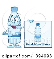 Clipart Of A Cartoon Bottled Water Mascot Pointing To A Drink More Water Sign Royalty Free Vector Illustration