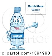 Clipart Of A Cartoon Bottled Water Mascot Holding Up A Drink More Water Sign Royalty Free Vector Illustration