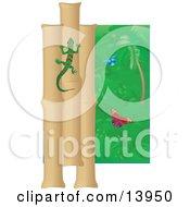 Green And Red Striped Gecko Climbing A Bamboo Wall Near Butterflies In A Rainforest