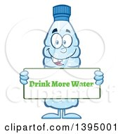 Clipart Of A Cartoon Bottled Water Mascot Holding A Drink More Water Sign Royalty Free Vector Illustration