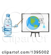 Clipart Of A Cartoon Bottled Water Mascot Using A Pointer Stick During A Presentation About Usage Royalty Free Vector Illustration
