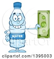 Clipart Of A Cartoon Bottled Water Mascot Holding Cash Money Royalty Free Vector Illustration