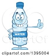 Clipart Of A Cartoon Bottled Water Mascot Giving A Thumb Up Royalty Free Vector Illustration