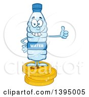 Clipart Of A Cartoon Bottled Water Mascot Standing On Coins And Giving A Thumb Up Royalty Free Vector Illustration