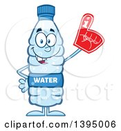 Clipart Of A Cartoon Bottled Water Mascot Wearing A Foam Finger Royalty Free Vector Illustration