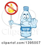 Clipart Of A Cartoon Bottled Water Mascot Holding A No Fire Sign Royalty Free Vector Illustration
