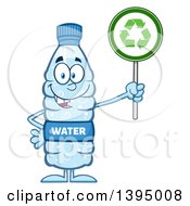 Clipart Of A Cartoon Bottled Water Mascot Holding A Recycling Sign Royalty Free Vector Illustration