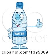 Clipart Of A Cartoon Bottled Water Mascot Winking And Giving A Thumb Up Royalty Free Vector Illustration