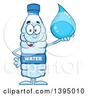 Clipart Of A Cartoon Bottled Water Mascot Holding A Droplet Royalty Free Vector Illustration