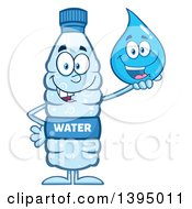 Clipart Of A Cartoon Bottled Water Mascot Holding A Droplet Character Royalty Free Vector Illustration