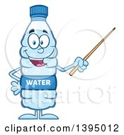 Clipart Of A Cartoon Bottled Water Mascot Using A Pointer Stick Royalty Free Vector Illustration