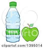 Clipart Of A Cartoon Bottled Water And Green Apple Royalty Free Vector Illustration