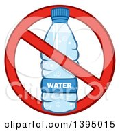 Clipart Of A Cartoon Bottled Water In A Restricted Symbol Royalty Free Vector Illustration by Hit Toon