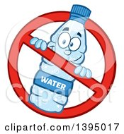 Clipart Of A Cartoon Bottled Water Mascot In A Restricted Symbol Royalty Free Vector Illustration by Hit Toon