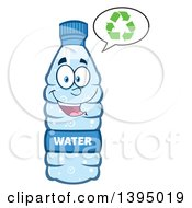 Clipart Of A Cartoon Bottled Water Mascot Talking About Recycling Royalty Free Vector Illustration