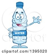 Clipart Of A Cartoon Bottled Water Mascot Waving Royalty Free Vector Illustration