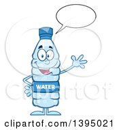 Clipart Of A Cartoon Bottled Water Mascot Talking And Waving Royalty Free Vector Illustration