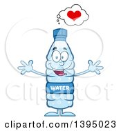 Clipart Of A Cartoon Bottled Water Mascot With Open Arms Royalty Free Vector Illustration