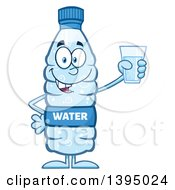 Clipart Of A Cartoon Bottled Water Mascot Holding A Glass Royalty Free Vector Illustration
