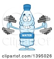 Clipart Of A Cartoon Bottled Water Mascot Working Out With Dumbbells Royalty Free Vector Illustration