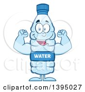 Clipart Of A Cartoon Bottled Water Mascot Flexing His Muscles Royalty Free Vector Illustration