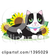 Clipart Of A Cartoon Happy Green Eyed Tuxedo Cat Resting In A Sunflower Garden Royalty Free Vector Illustration