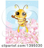 Clipart Of A Cute Bee Waving Over Spring Blossom Flowers Royalty Free Vector Illustration