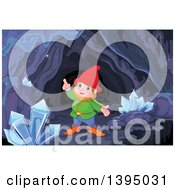 Clipart Of A Happy Mining Gnome And Crystals In A Cave Royalty Free Vector Illustration