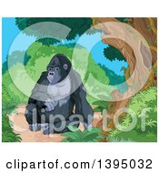 Clipart Of A Happy Gorilla Resting In A Jungle Royalty Free Vector Illustration by Pushkin