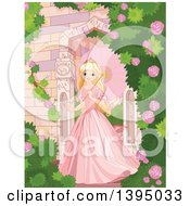Beautiful Blond Haired Blue Eyed Caucasian Princess In A Pink Dress Strolling With A Parasol In A Castle Rose Garden