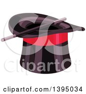 Clipart Of A Black Top Hat With A Red Band And Magic Wand Royalty Free Vector Illustration by Pushkin