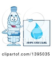 Clipart Of A Cartoon Bottled Water Mascot Pointing To A 100 Percent Natural Sign Royalty Free Vector Illustration